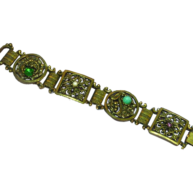 Fantastic Art Deco Czech Glass Egyptian Revival Filigree Heavy Gold Gilt Bracelet