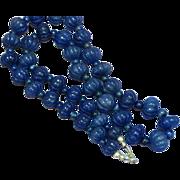 Vintage Hand Carved Genuine Lapis Lazuli Sterling Silver Necklace
