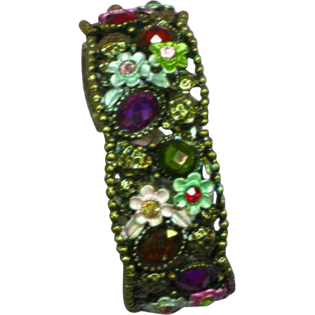 Enamel Sweet Floral Faceted Rhinestones Brass Bracelet