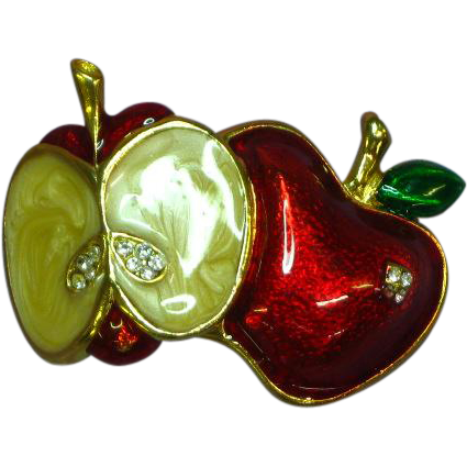 Vintage Enameled Apple Rhinestone Pin Brooch