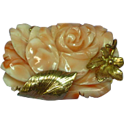 14K Yellow Gold Floral Frame with Carved Coral Blossom Pin Brooch Pendant