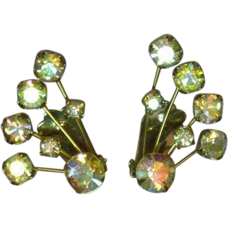 Weiss Signed Elegant A/B Rhinestone Climber Clip Earrings