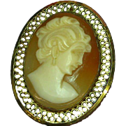 Gold Filled Cameo Carved Shell In Filigree Frame c 1900's Pin Brooch Pendant