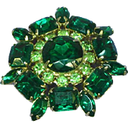 Weiss Gorgeous Green Rhinestone Vintage Pin Brooch