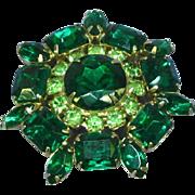 Weiss Gorgeous Green Rhinestone Vintage Pin Brooch