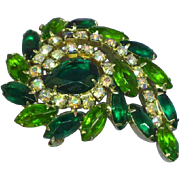 Large Radiant Greens Rhinestone Pin Brooch