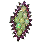 Genuine Ruby & Jelly Opal Cluster Vintage Sterling Silver Cocktail Ring