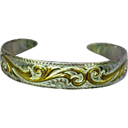 American Indian Navajo Sterling  Engraved Gold Wash Cuff Bracelet