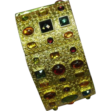 Uniquely Decorated Wide Gold Plate Stretch Panel Rhinestone Adorned Bracelet