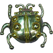 Designer Signed Giant Silver/ Gold Lady Bug Figural Pin Brooch Pendant