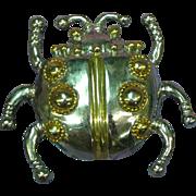Designer Signed Giant Silver/ Gold Lady Bug Figural Pin Brooch Pendant