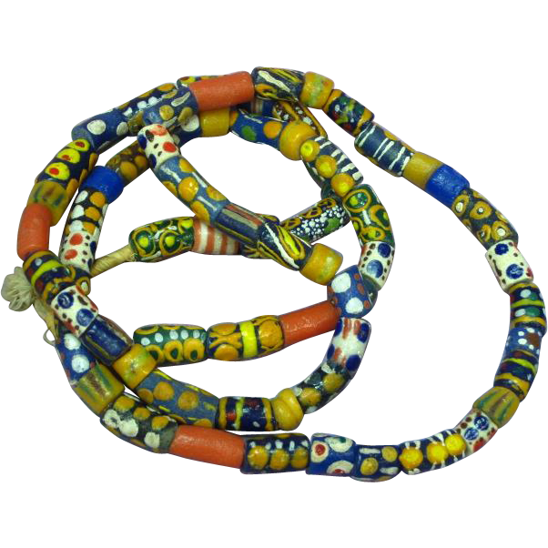 Authentic Antique African Ghanaian African Tribal Trade Bead Necklace