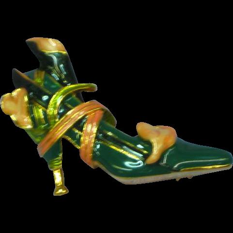 Vintage KJL Kenneth J Lane Enamel Calla Lily Shoe High Heel Pump Pin Brooch
