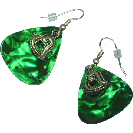 Guitar Pick Green Marbled with Heart Pierced Earrings