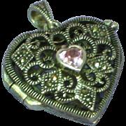 Puffy Heart Marcasite Pink Stone Filigree Vinaigrette 925 Sterling Silver Locket Perfume Necklace Pendant
