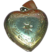 Sterling Silver Heart Etched Locket Necklace Pendant Charm with Brilliant Rhinestone