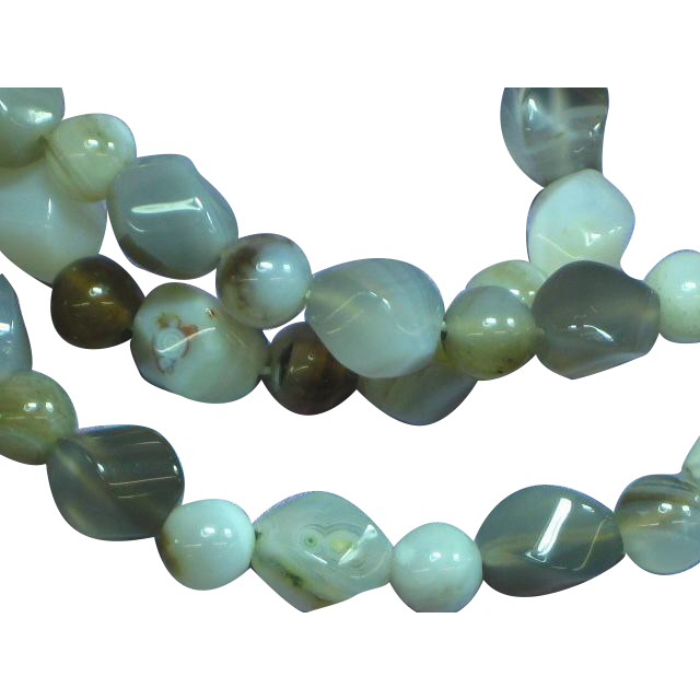 Natural Banded Agates Translucent Chalcedony Beads Necklace