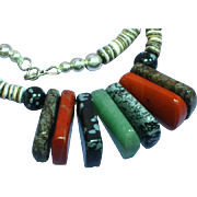 Gemstone Multi Stone Heshi Agate Sterling Silver Necklace