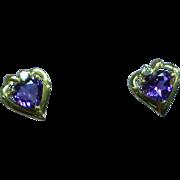 10K Yellow Gold Diamond Amethyst Heart Pierced Earrings