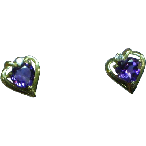 10K Yellow Gold Diamond Amethyst Heart Pierced Earrings