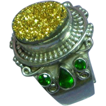 Fabulous Sterling Silver Gold Druzy Green Emerald Gemstone Ring