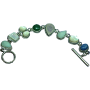 Gemstones Sterling Silver Vintage Multi  Carved Stone Toggle Bracelet