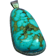 Native American Indian Large Royston Turquoise Sterling Silver Necklace Pendant