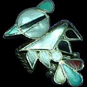 Native American Indian Zuni Sterling Silver Thunderbird Inlaid Stone Pin Brooch