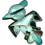 Native American Indian Zuni Sterling Silver Thunderbird Inlaid Stone Pin Brooch