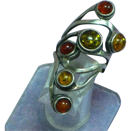 Genuine Russian Baltic Multi Color Amber Sterling Silver Large Ring