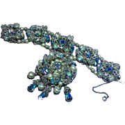 Napier Signed Clear Glass Crystals Pearls & Iridescent Rhinestone Bracelet Brooch Pin Set Demi Parure