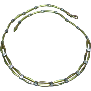 14K Marked Two Tone Gold Made in Turkey Gold Link Necklace