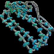 "Native American Indian Turquoise Double Strand Vintage  Santo Domingo Pueblo Heshi  35"" Ceremonial Necklace"