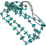 "Native American Indian Turquoise Double Strand Vintage  Santo Domingo Pueblo Heishi  35"" Ceremonial Necklace"
