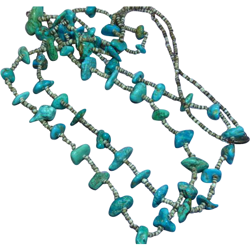"Native American Indian Turquoise Double Strand Vintage  Santo Domingo Pueblo Heshi  35"" Ceremonial Necklace"