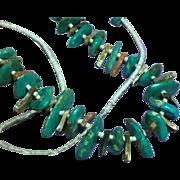 American Indian Turquoise Single Strand Vintage  Santo Domingo Pueblo Heshi Shell Ceremonial Necklace