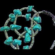 Turquoise Single Strand Vintage American Indian Santo Domingo Pueblo Heshi Ceremonial Necklace