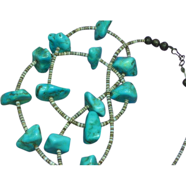 Turquoise Single Strand Vintage American Indian Santo Domingo Pueblo Heishi Ceremonial Necklace