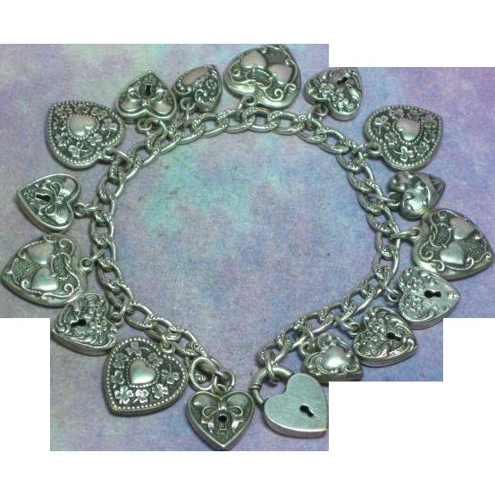 Walter Lampl Original Sterling Silver 17 Puffy Hearts & Padlock Charm Bracelet MIB