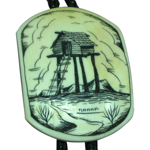 Alaskan Native Hand Made Signed Scrimshaw Bolo Tie w/ Fancy Hand Carved Tips