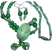 Carved Natural Green Jade Flower in Pot Pendant Necklace Matching Earrings Set Demi Parure
