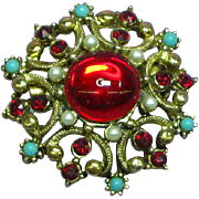 Sweetest Gripoix Red Glass Cabochon Tiny Pearl Rhinestone Pin Brooch