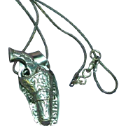 Sterling Silver Marked Gun Holster with Gun Charm Pendant Necklace