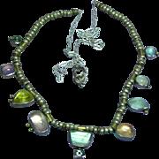 Sterling Silver Designer Signed Multi Color Moonstone Drop Necklace