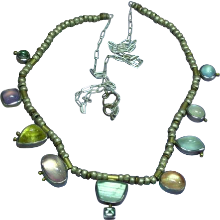 Sterling Silver Designer Signed Multi Color Moonstone Drop Necklace