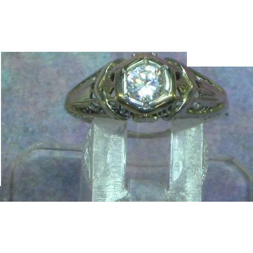 Art Deco 14K White Gold CZ Hand Engraved Engagement Ring