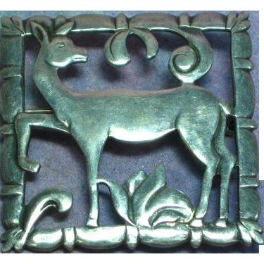BRKS Signed Vintage Art Deco Sterling Silver  Deer Nature Pin Brooch