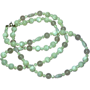 "Gemstones Mother of Pearl and Rose Quartz Beads 28"" Necklace"