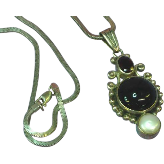 Sajen Natural Gemstone Mabe Pearl Sterling Silver Pendant Necklace