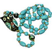 Chinese Fabulous Cloisonne Enamel Side Drape Double Sided Owl Figural Necklace